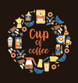coffee flat line icons round frame - wreath vector image