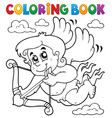 coloring book cupid topic 6 vector image