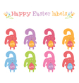Concept set of happy easter bunnies labels vector image
