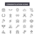 congratulation line icons for web and mobile vector image