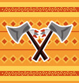 cross axes weapon tool native american vector image vector image