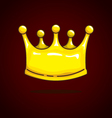 Crown cartoon on dark red background vector image vector image