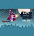 cute witch fly on broom stick happy halloween vector image