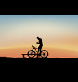 cyclist holding phone vector image vector image