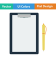 Flat design icon of Tablet and pen vector image vector image