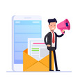 flat email marketing concept businessman or vector image vector image
