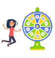 fortune wheel and lucky girl gambling and casino vector image vector image
