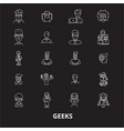 geeks editable line icons set on black vector image