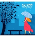 Girl and boy with umbrella in a autumn raining day vector image vector image