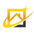 gold real estate house roof icon vector image vector image