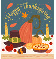 happy thanksgiving day dinner cartoon hand drawn vector image