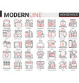 household tools complex thin red black line icons vector image vector image