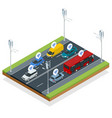 isometric smart city transport and wifi technology vector image vector image