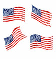 low poly american flags set vector image