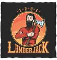 lumberjack woodworks label design poster vector image vector image