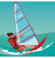 Man is engaged in windsurfing vector image vector image