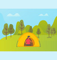 man relaxing in tent on nature forest camping vector image vector image