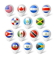 Map pointers with flags North America vector image vector image