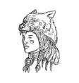 native american woman wearing wolf head vector image