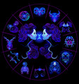 neon horoscope circle with signs zodiac set vector image vector image
