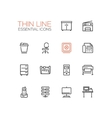 Office Supplies - Thin Single Line Icons Set vector image vector image