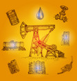 oil industry drawn elements vector image vector image