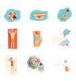 people sunbathing on the beach set top view of vector image vector image