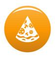 pizza slice icon orange vector image vector image