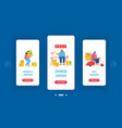 post office service mobile app page onboard screen vector image vector image