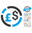Pound And Dollar Currency Diagram Icon With 2017 vector image vector image