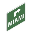 Road sign with Miami icon isometric 3d style vector image vector image