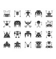 robot black silhouette icons set vector image vector image