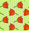 seamless floral pattern with red tulip flowers vector image