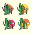 set of cacti in the desert with a pointer vector image