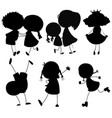 set of silhouette people character vector image vector image