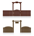 set of wooden fences isolated on white vector image