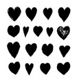 set with black heart shape drawn vector image vector image