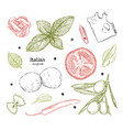 set with hand drawn of food italian cuisine vector image