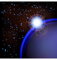 Space background with blue planet and stars vector image