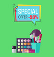 special offer for decorative cosmetics poster vector image