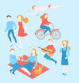 summer activity cartoon people in park vector image vector image