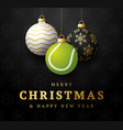 tennis merry christmas and happy new year luxury vector image vector image