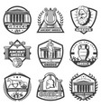 vintage monochrome ancient greece labels set vector image vector image