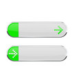 white buttons with green tags and arrow sign menu vector image vector image