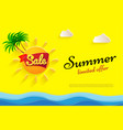 yellow flyer summer sale limited offer big sun vector image vector image