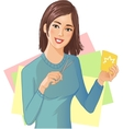 Young beautiful girl is cutting color paper with vector image vector image