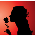 young woman with a rose vector image