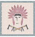 grunge Native American chief man in tribal vector image