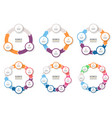 business infographics circular arrows with 3-8 vector image