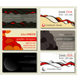 Abstract business cards kit of six designs with cu vector image vector image